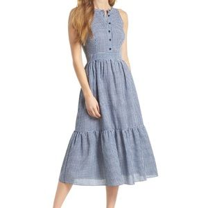 Gal Meets Glam Blue Gingham Sleeveless Midi Dress